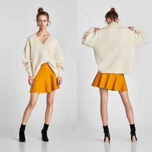 ZARA Sweater Knit Flare High Waist Skirt
